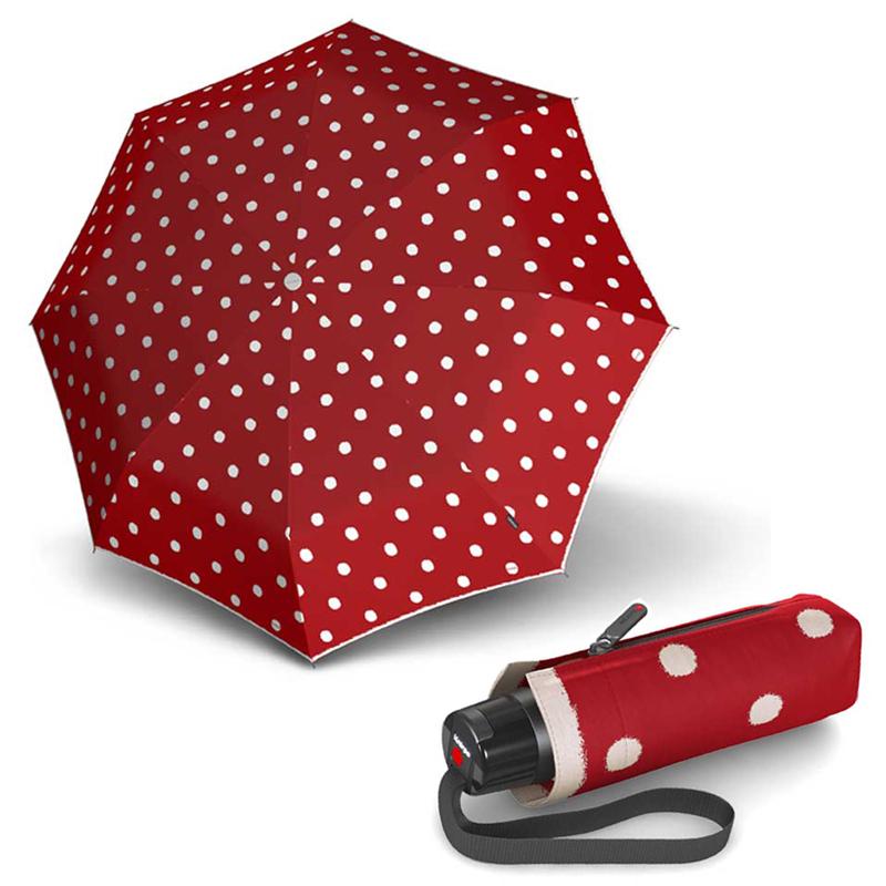 Knirps T.010 Small Manual DOT ART Red - dámský skládací mini deštník