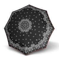Doppler Magic Fiber STYLE 23 - dámský skládací plně automatický deštník černý s květinami