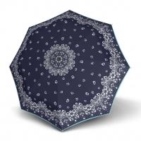 Doppler Magic Fiber STYLE 23 - dámský skládací plně automatický deštník modrý s květinami