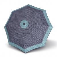 Doppler Magic Fiber STYLE 23 - dámský skládací plně automatický deštník modrý s tečkami