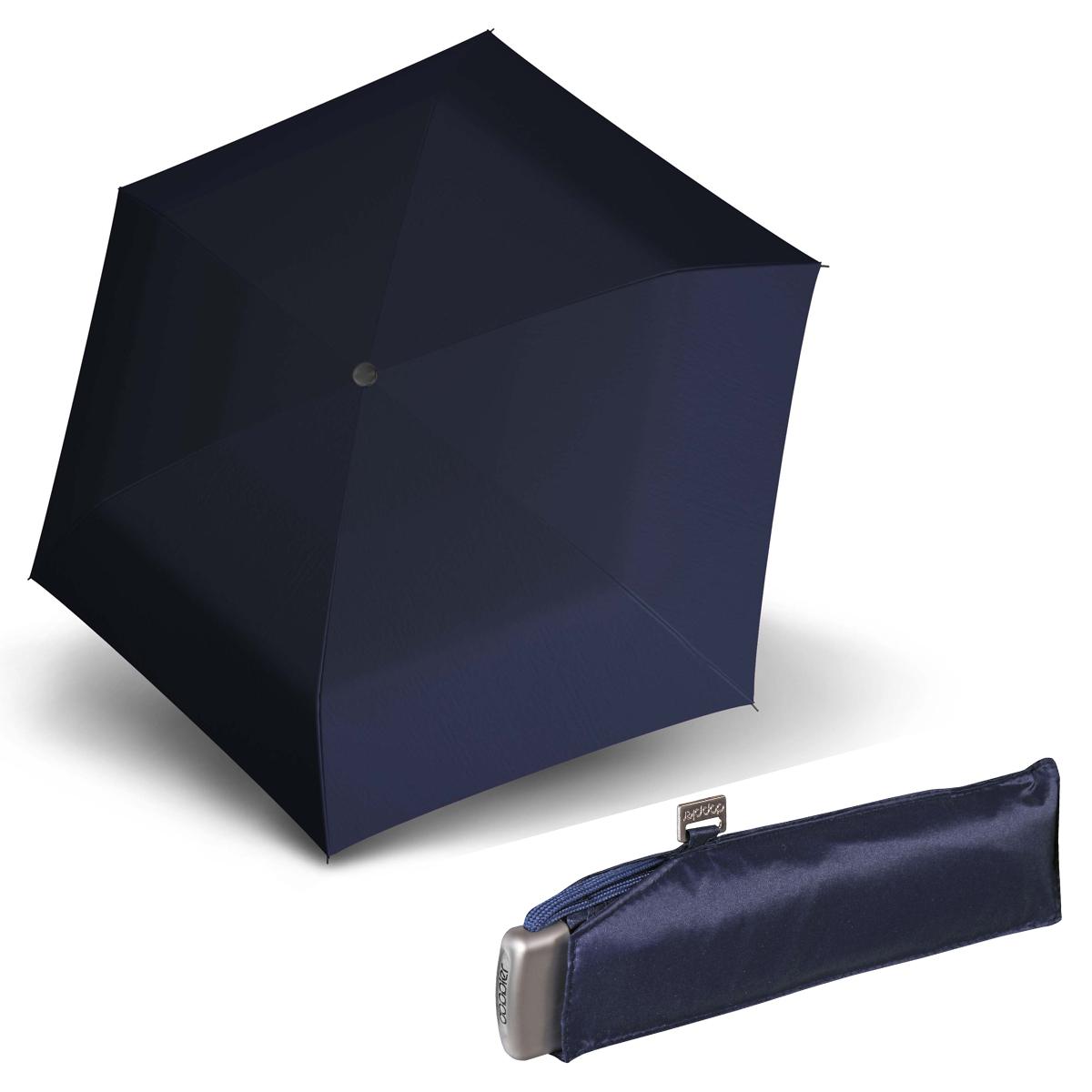 Doppler Mini Slim Carbonsteel tmavě modrý - dámský plochý skládací deštník