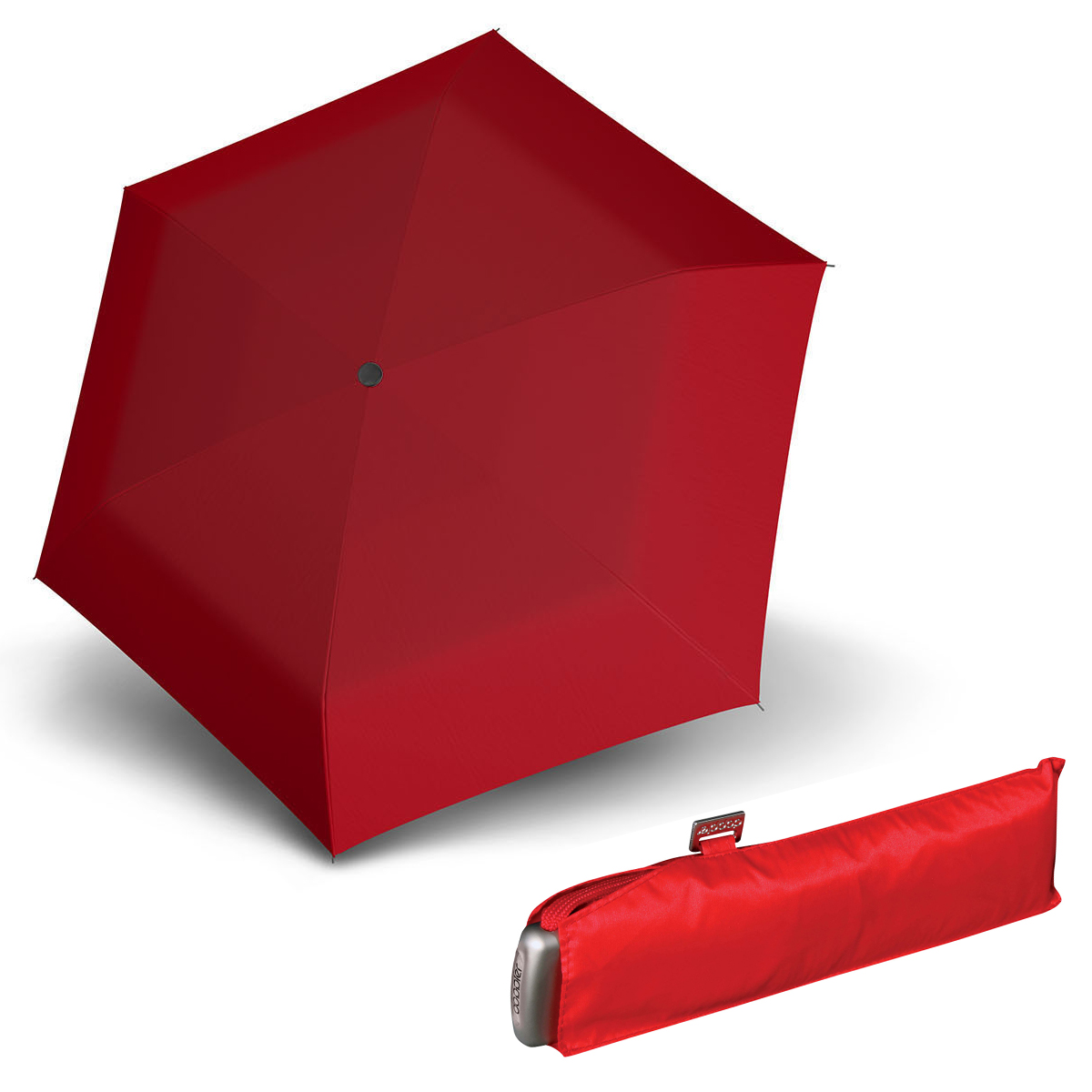 Doppler Mini Slim Carbonsteel červený - dámský plochý skládací deštník