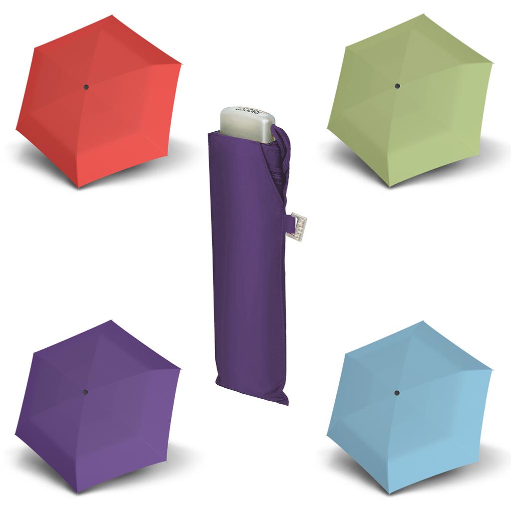 Doppler Mini Slim Carbonsteel UNI 25 - dámský plochý skládací deštník světle zelená