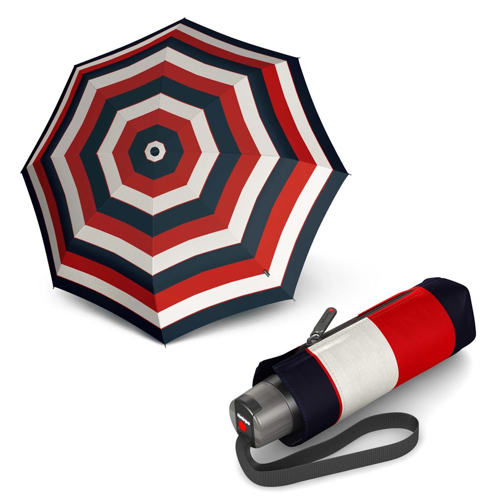 Knirps T.010 Small Manual Stripe červený - dámský skládací mini deštník