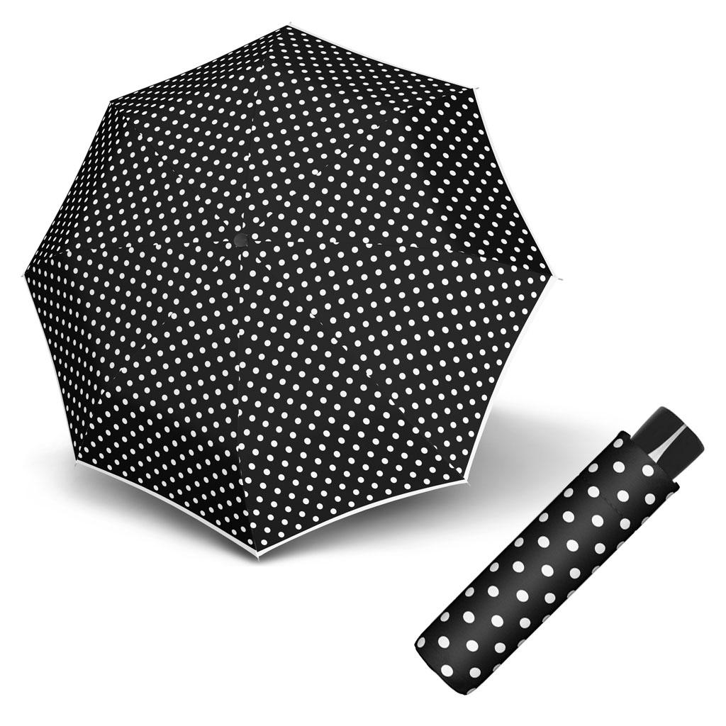 Doppler Mini Fiber BLACK & WHITE - dámský skládací odlehčený deštník puntíky
