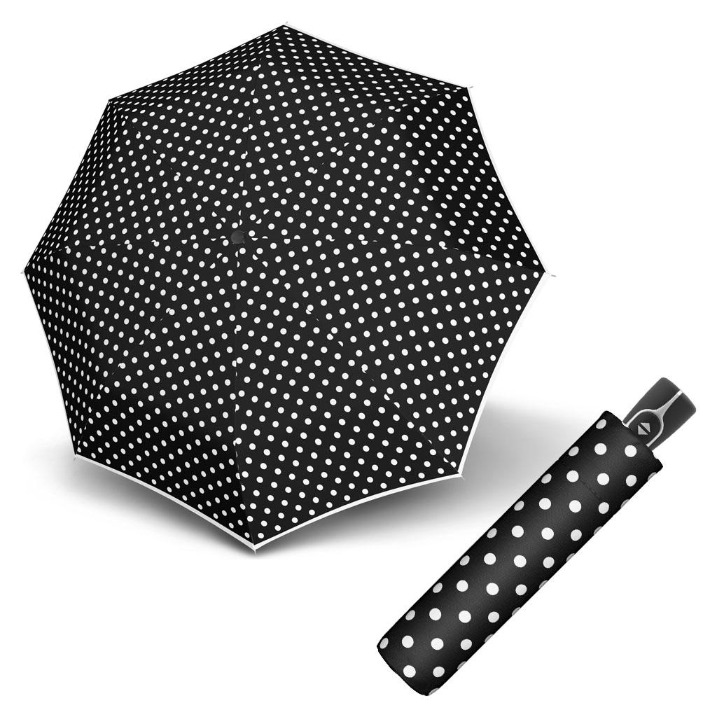 Doppler Magic Fiber BLACK & WHITE - dámský skládací plně-automatický deštník puntíky