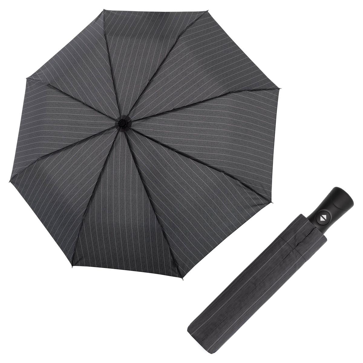Doppler Magic Fiber Superstrong vzor - pánský plně-automatický deštník širší šedý proužek