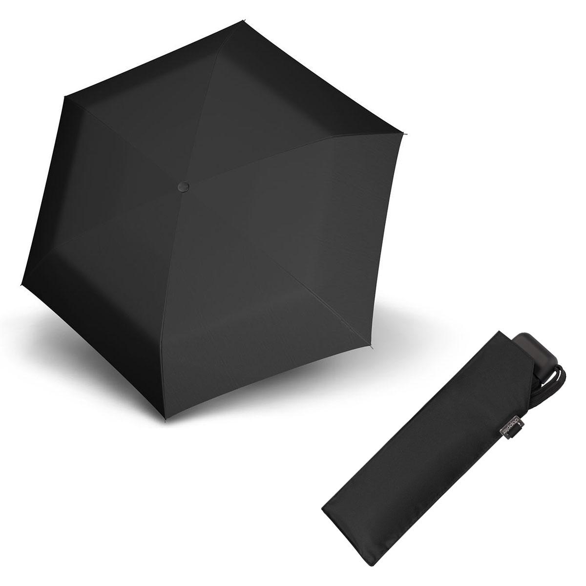 Doppler Mini Slim Carbonsteel černý - dámský plochý skládací deštník