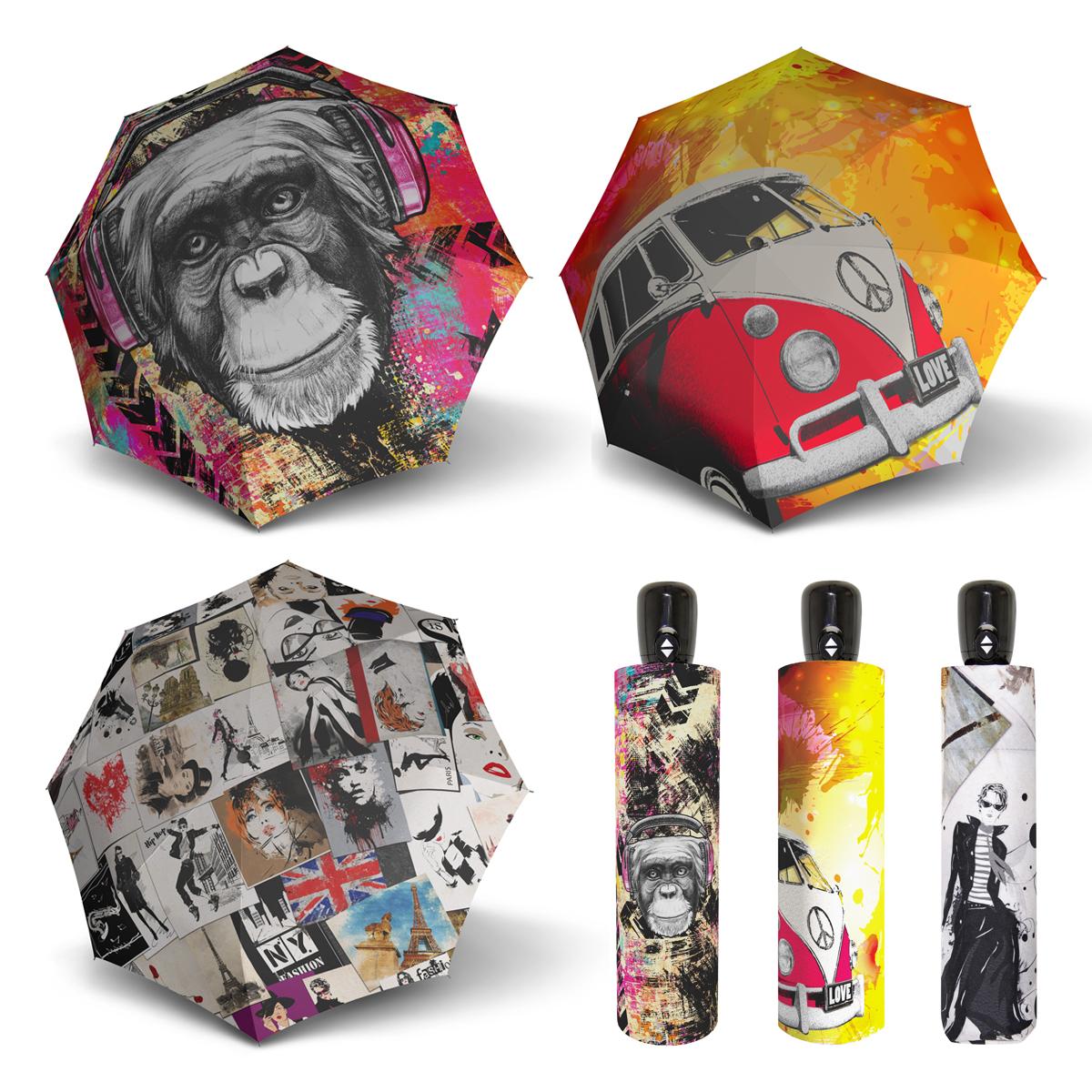 Doppler Magic Mini MODERN.ART - dámský skládací plně-automatický deštník opice