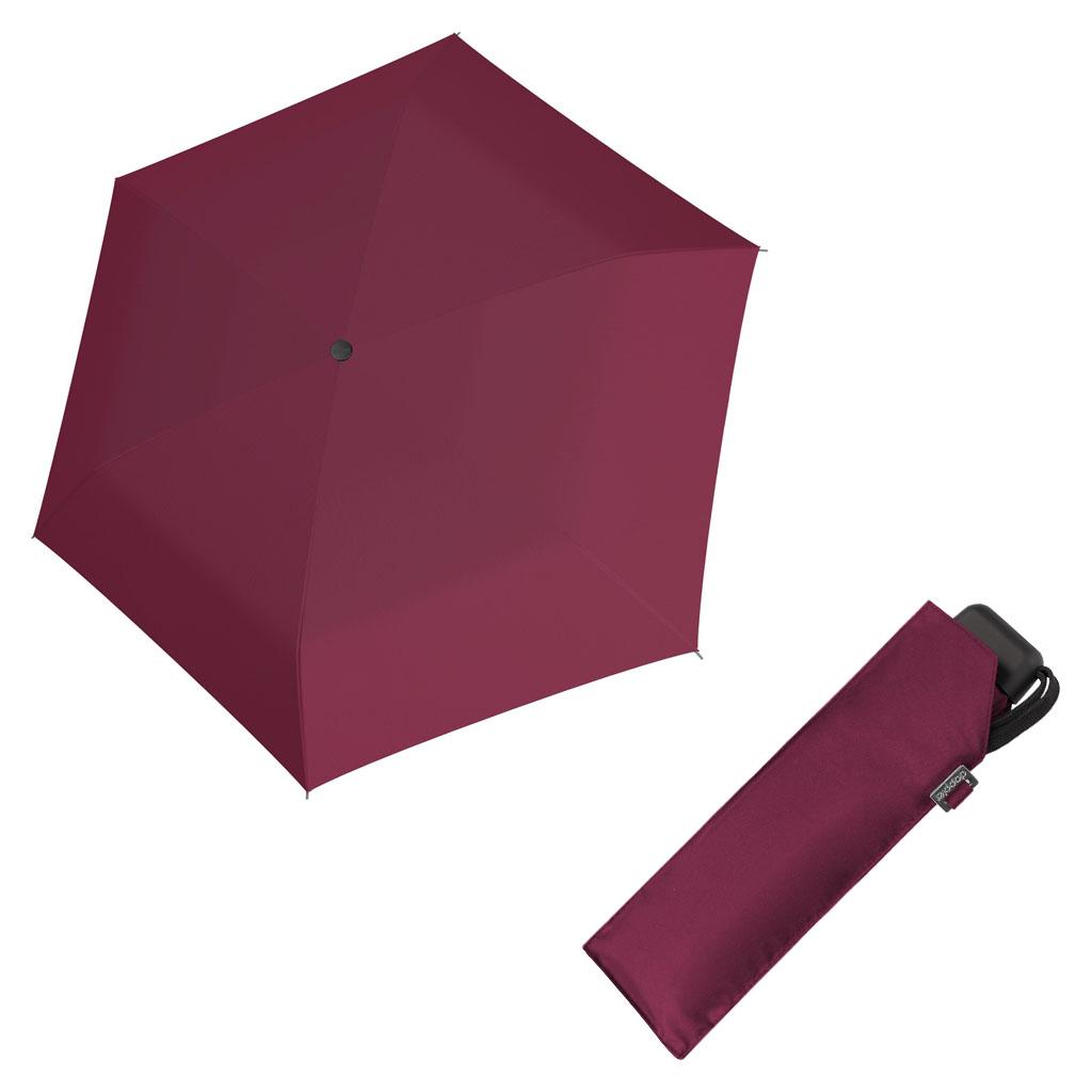 Doppler Mini Slim Carbonsteel UNI 26 - dámský plochý skládací deštník vínová