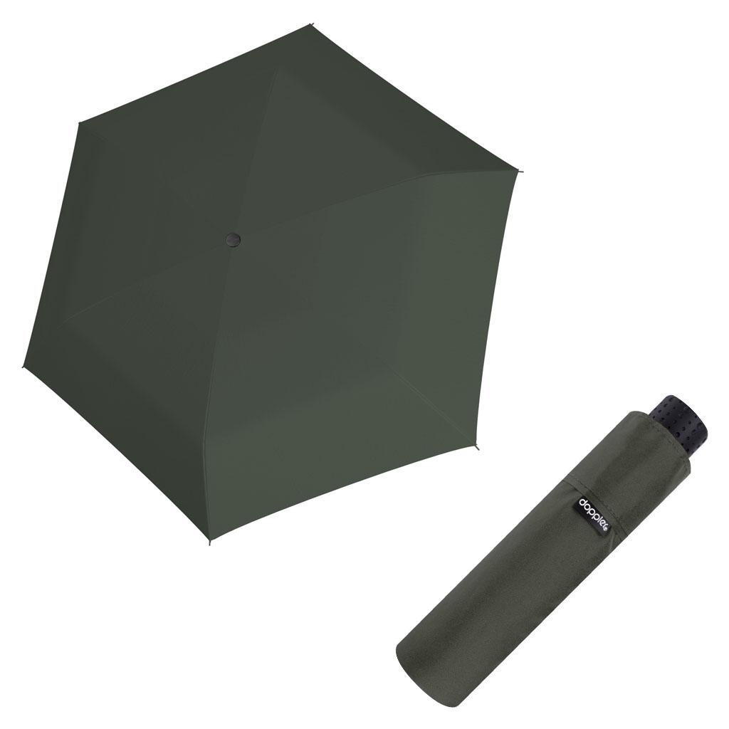 Doppler Mini Slim Carbonsteel UNI 26 - dámský plochý skládací deštník oliva