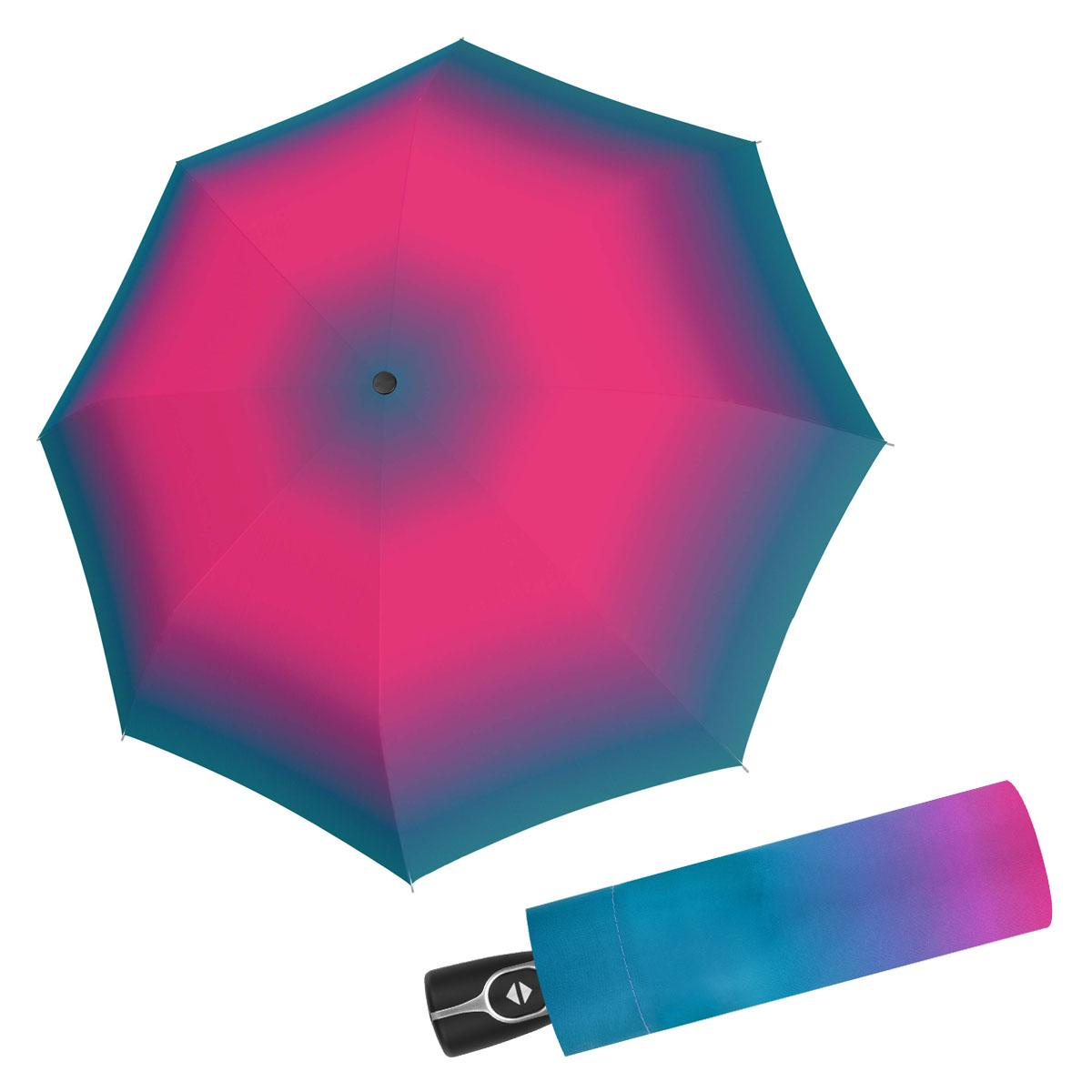 Doppler Magic Fiber SPIRIT - dámský skládací plně-automatický deštník modro-růžová