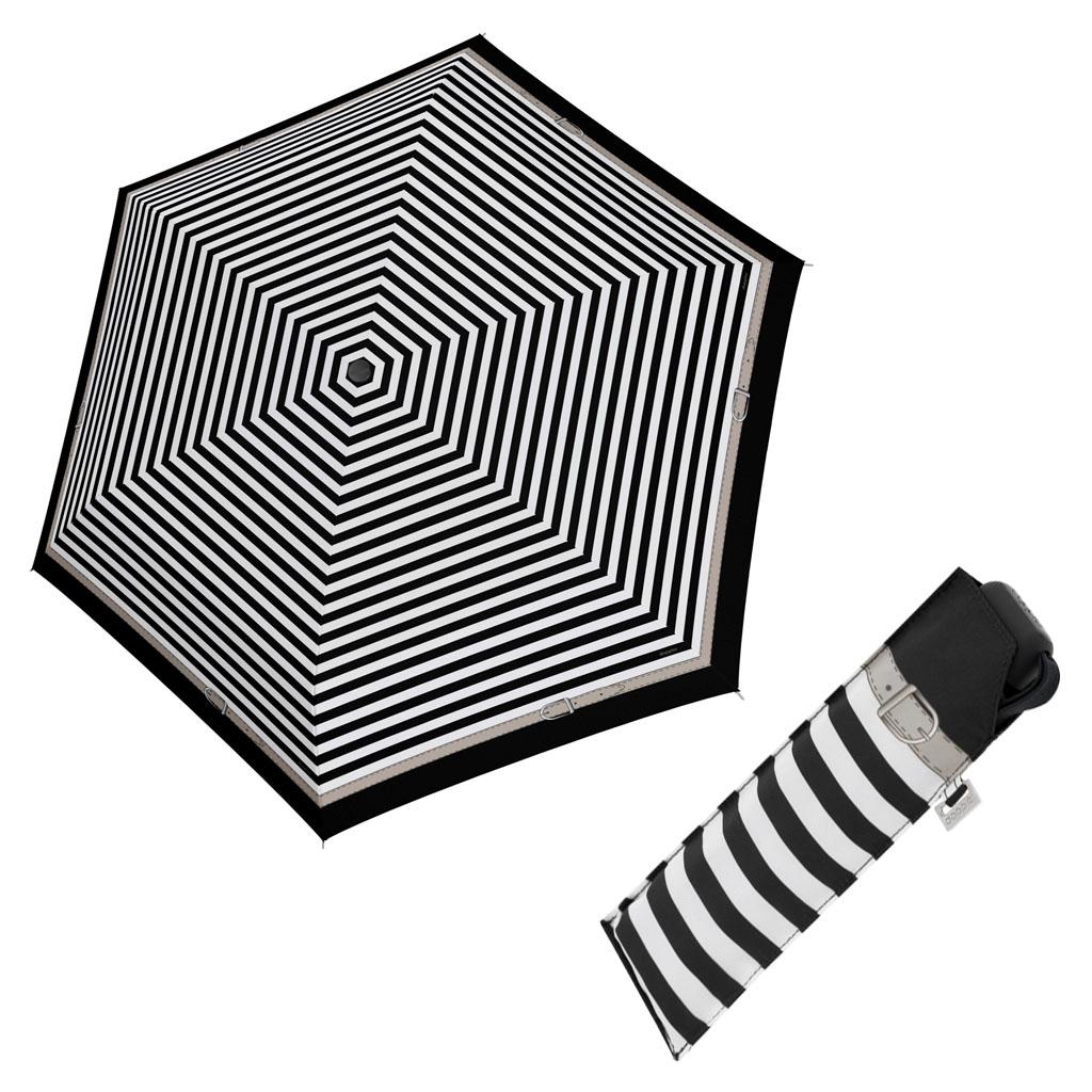 Doppler Mini Slim Carbonsteel DELIGHT - dámský plochý skládací deštník černá