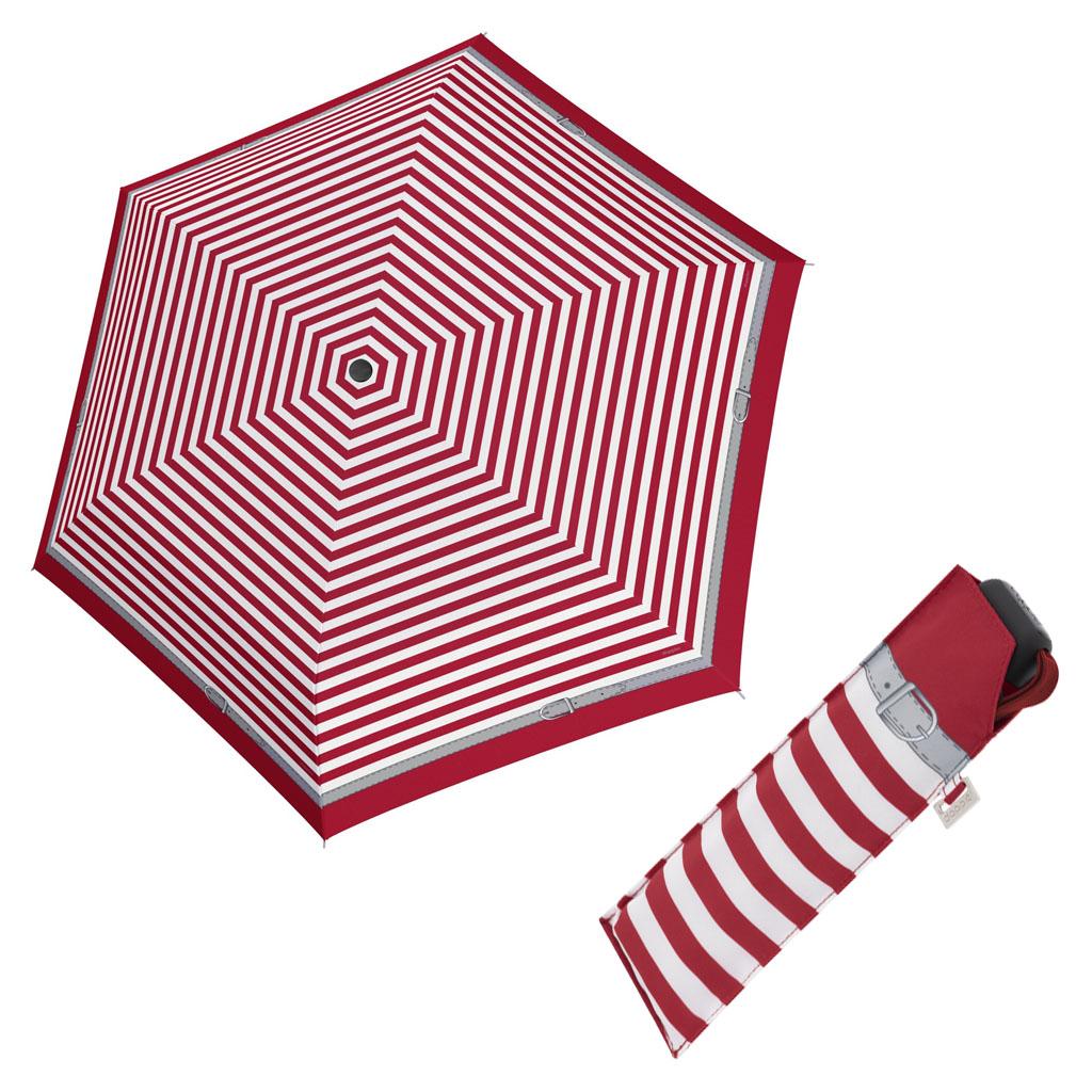 Doppler Mini Slim Carbonsteel DELIGHT - dámský plochý skládací deštník červená