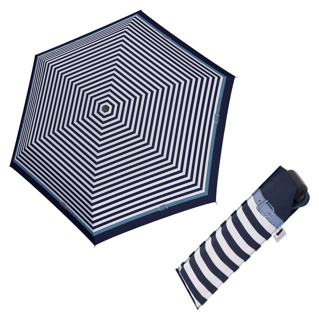 Doppler Mini Slim Carbonsteel DELIGHT - dámský plochý skládací deštník modrá