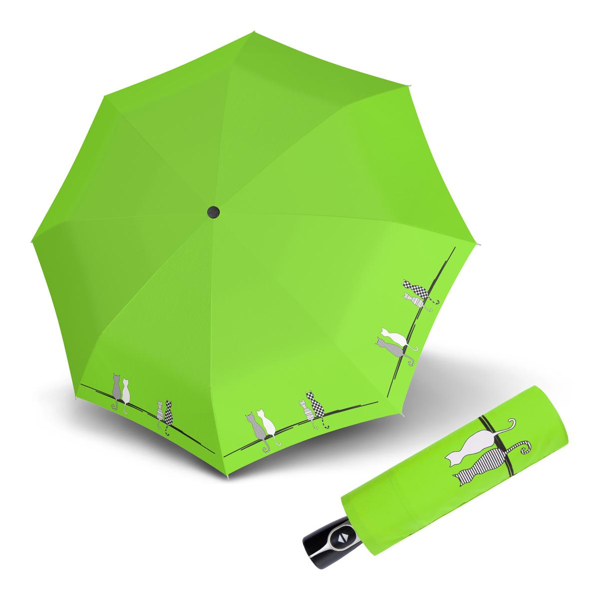 Doppler Magic Fiber CATS FAMILY - dámský plně-automatický deštník s kočkami zelená