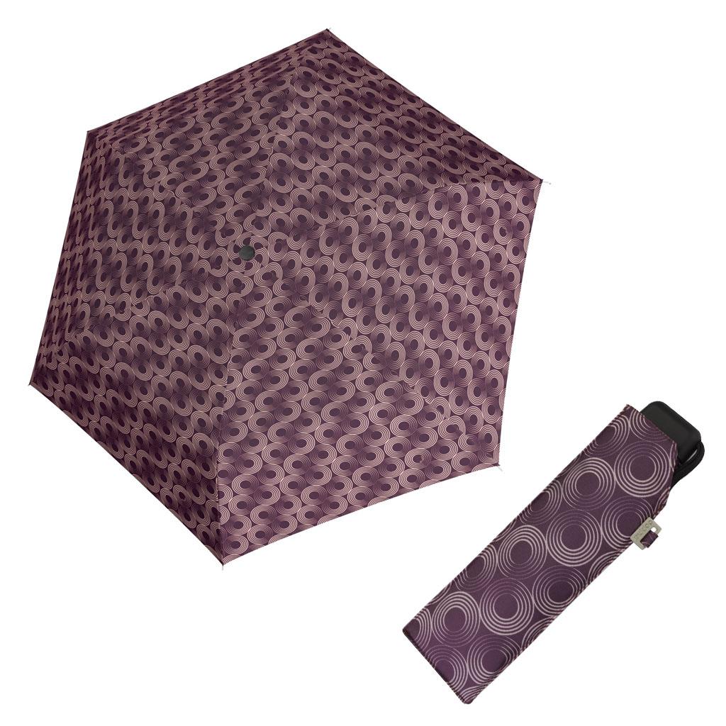 Doppler Mini Slim Carbonsteel GLOW - dámský plochý skládací deštník vínová