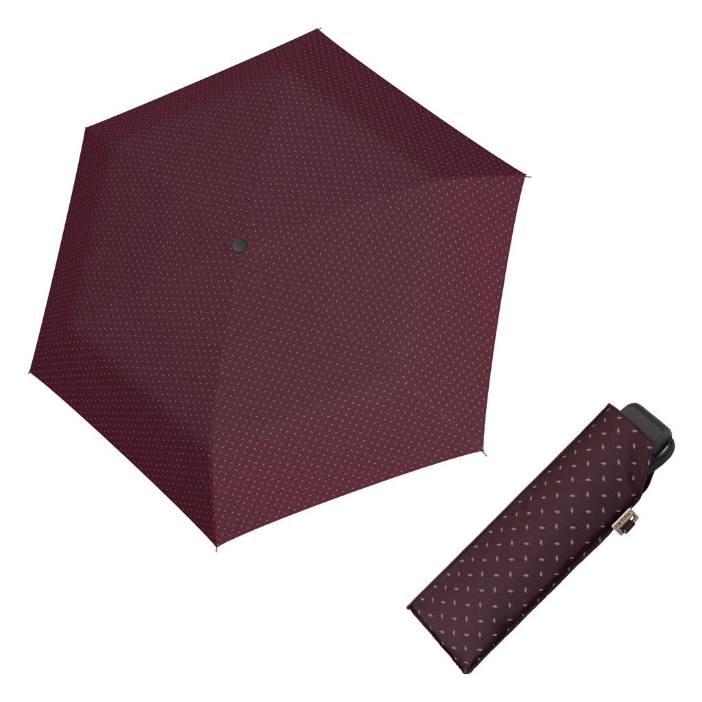 Doppler Mini Slim Carbonsteel ROYAL - dámský plochý skládací deštník vínová