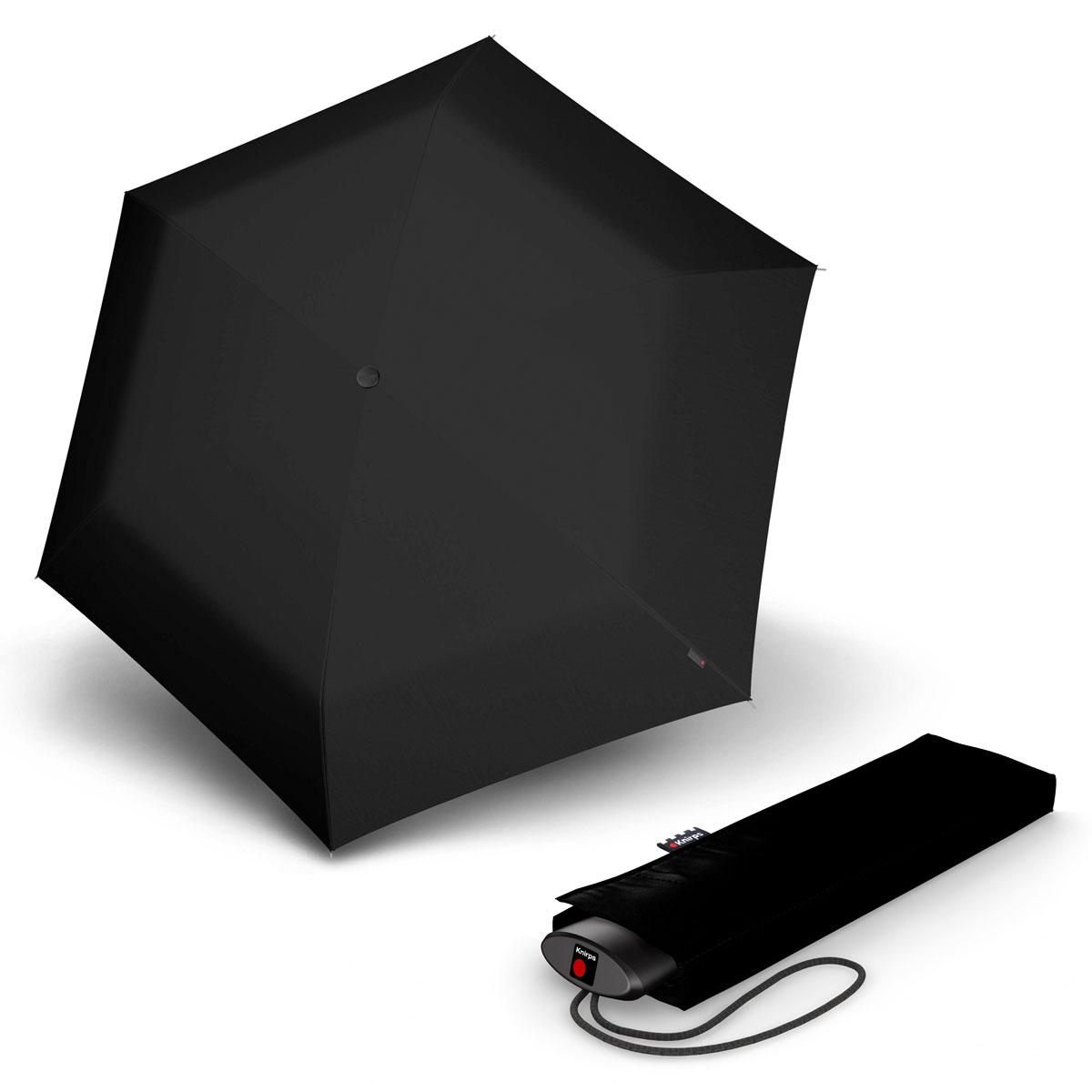 Knirps AS.050 Slim Small Manual - dámský skládací plochý deštník černá