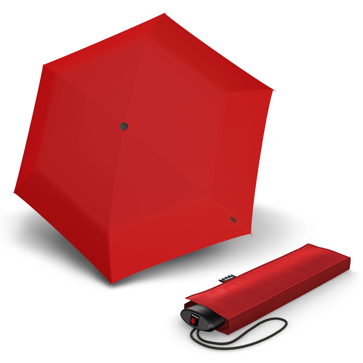 Knirps AS.050 Slim Small Manual - dámský skládací plochý deštník červená