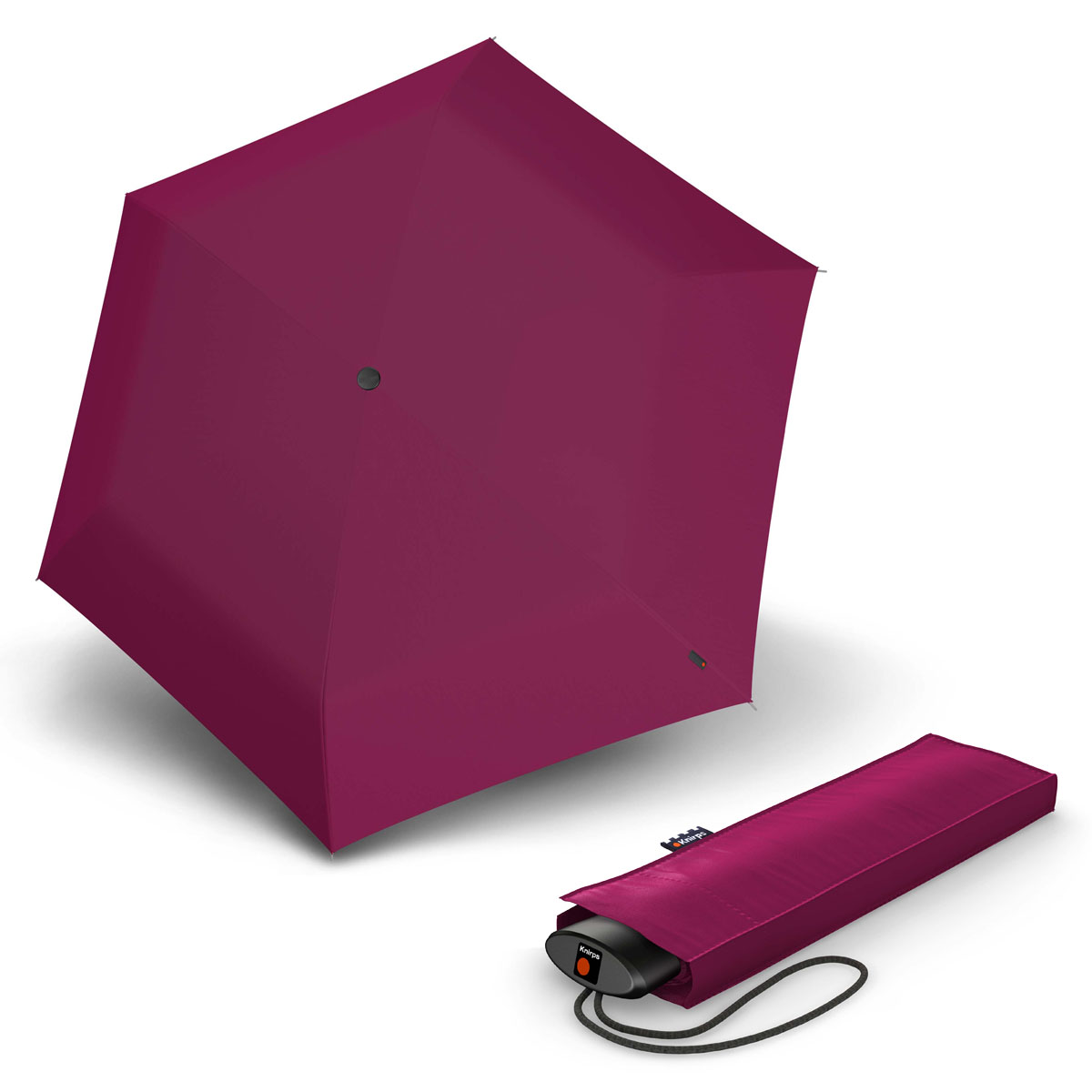 Knirps AS.050 Slim Small Manual - dámský skládací plochý deštník růžová