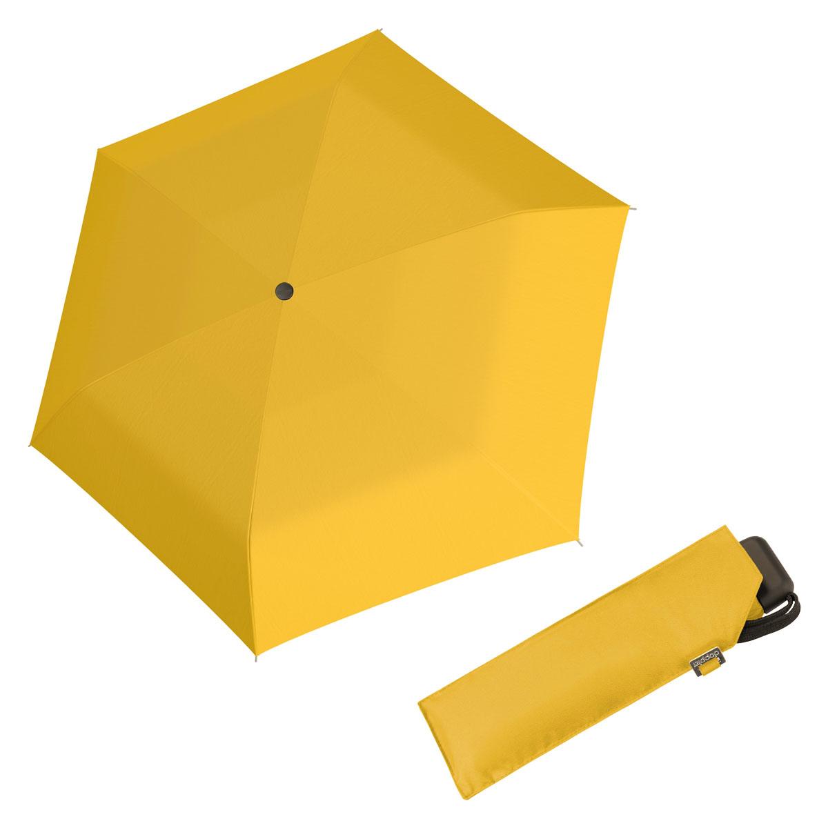 Doppler Mini Slim Carbonsteel 27 - dámský plochý skládací deštník žlutá