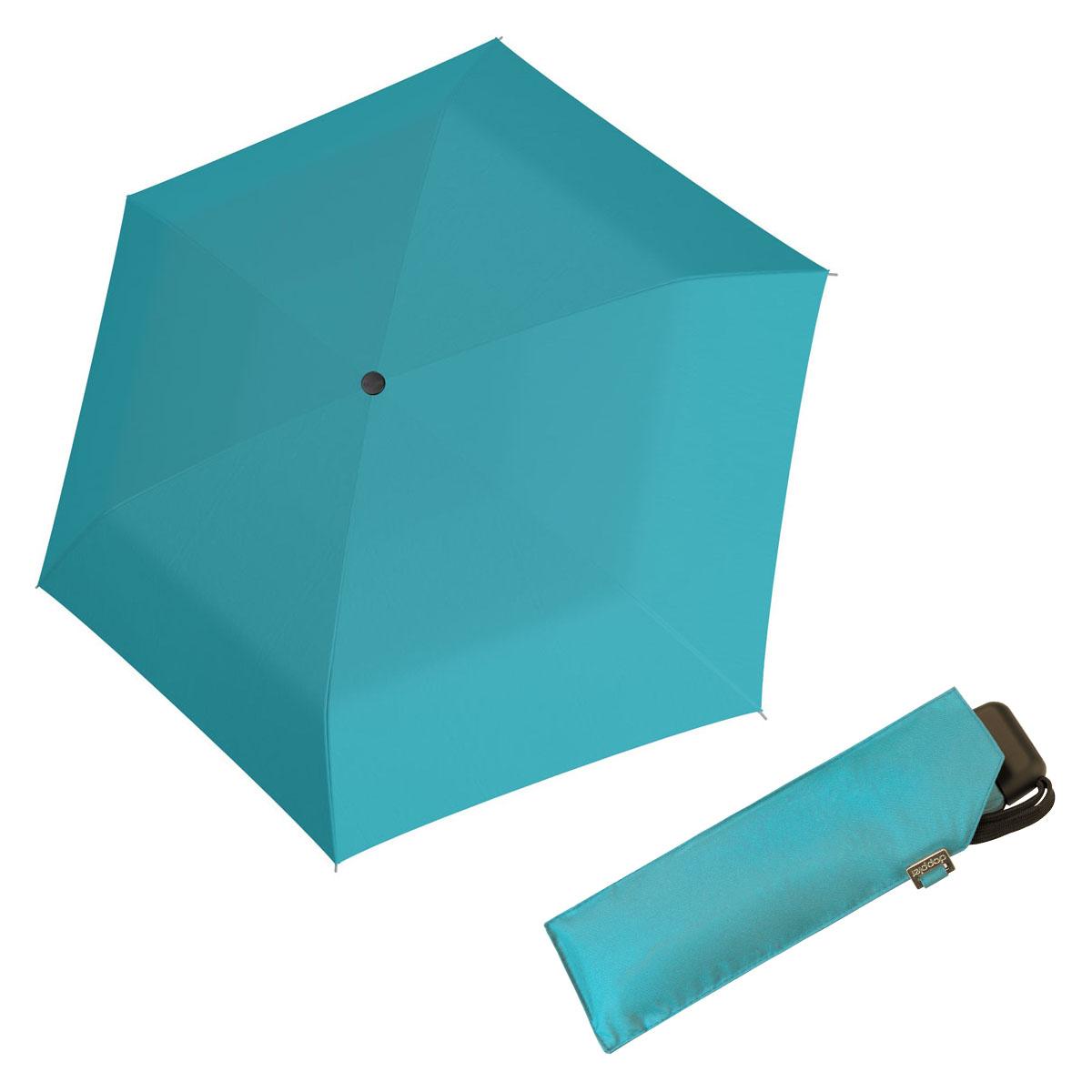Doppler Mini Slim Carbonsteel 27 - dámský plochý skládací deštník tyrskysová